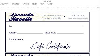 How to make a Gift Certificate with MS Word