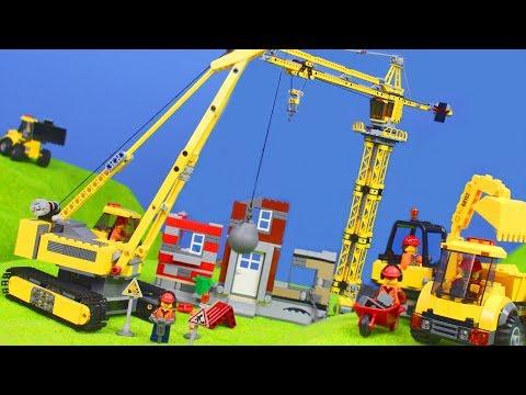 Bagger, Lastwagen, Kran, Truck & Spielzeugautos | Lego Construction Baustelle für Kinder
