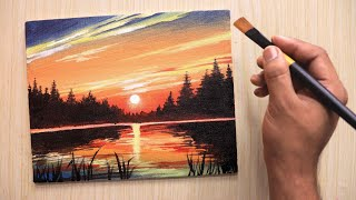 Acrylic Painting Of Beautiful Sunset Landscape Step By Step