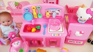 Hello Kitty mini kitchen Baby doll house toys play