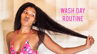 WASH DAY ROUTINE FOR LONG NATURAL HAIR! 2020