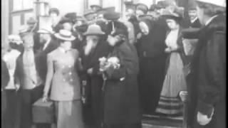 Прибытие Льва Толстого в Москву  , 1908 год.  Редкие кадры кинохроники.