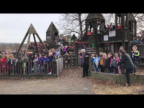 Video: Johnson Elementary students converge on castle playground