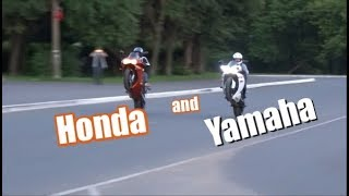 вилли парно на YAMAHA R1 2011 и HONDA cbr900rr