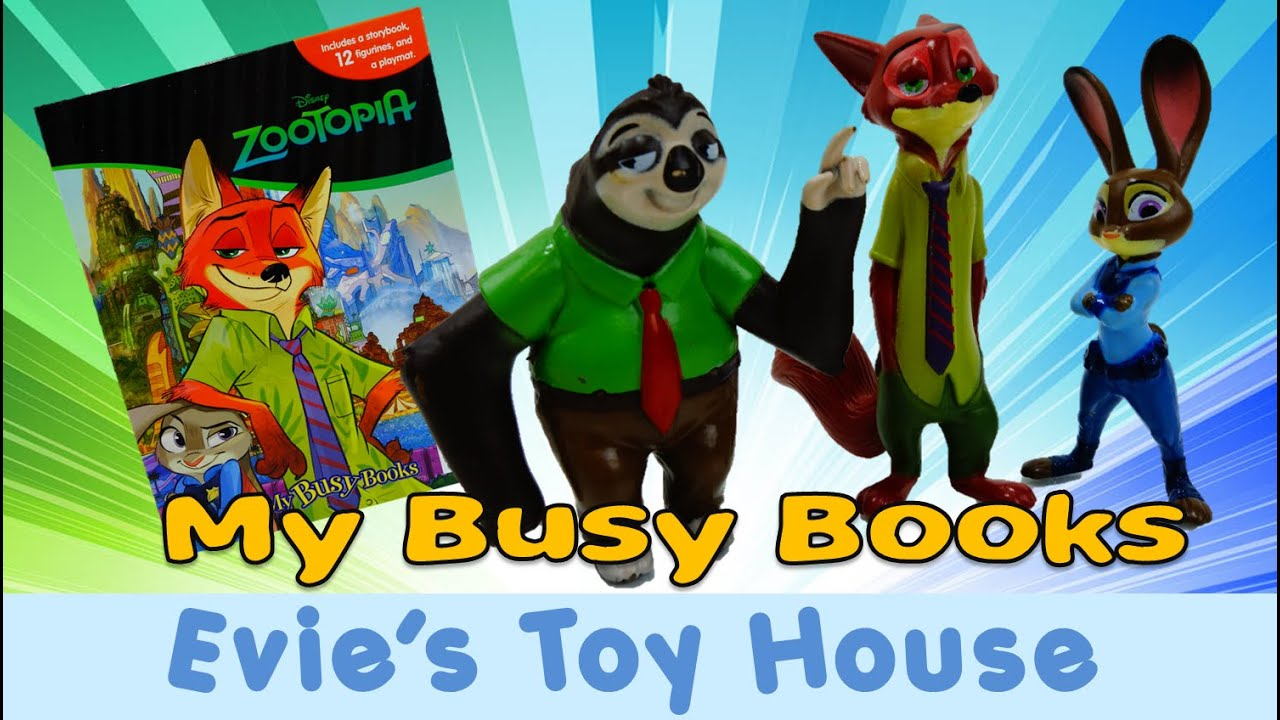 Disney Zootopia My Busy Books Review - Judy Hopps, Nick Wilde, Flash the Sloth | Evies Toy House