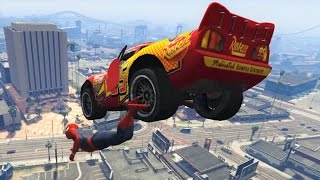 Lightning McQueen Mega Ramp Jumps & Stunts With Spiderman! Disney Pixar Cars