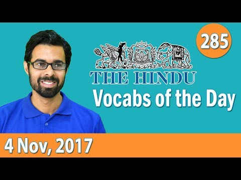 ✅ Daily The Hindu Vocabulary (4th Nov, 2017) - Learn 10 New Words with Tricks   Day-285