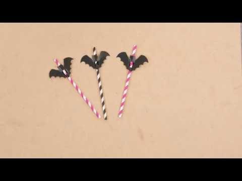 Verzieren Sie Ihre Strohhalme mit Fledermäusen