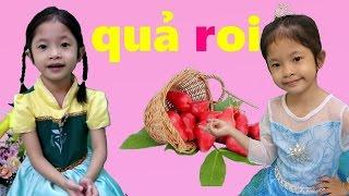 Elsa và Anna Chơi Trò Thách Đố Đoán Chữ Cái Tiếng Việt - Chủ Đề Trái Cây - Bé Học Trái Cây