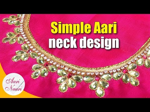 Simple Aari Neck Design Tutorial Hand Embroidery Work