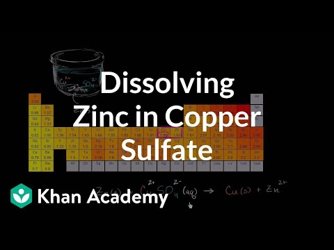 Redox reaction from dissolving zinc in copper sulfate (video) | Khan