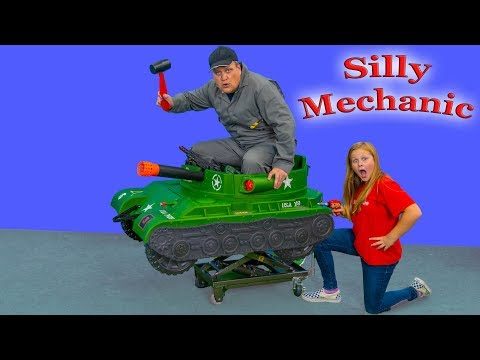 Assistant has the Silly Mechanic Work on her Ride On Tank