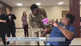 East Texas soldier surprises mom at Athens elementary school