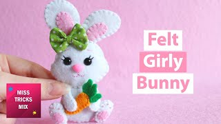 DIY: Cute Girly Easter Bunny Felt Ornament | Easter Crafts.