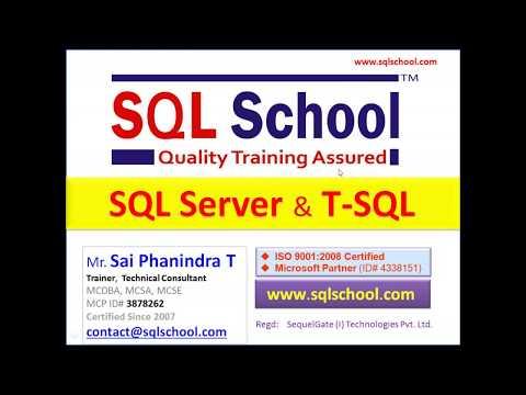 SQL Server T SQL Training (MS SQL 2019 Version) - YouTube