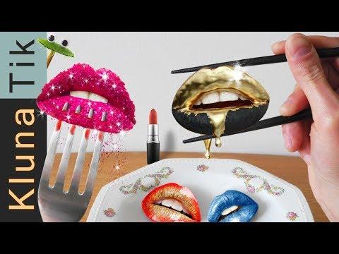 EATING LIPS with MAKEUP!!! Kluna Tik Dinner | ASMR eating sounds no talk comiendo maquillaje 食べるメイク