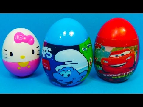 Hello Kitty The SMURFS Disney Pixar CARS Surprise Eggs For Kids Surprise Collection