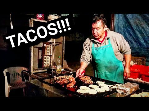 AUTHENTIC Mexican Street TACOS - On A DARK Mexican Street - DEEP In The Heart Of Mexico