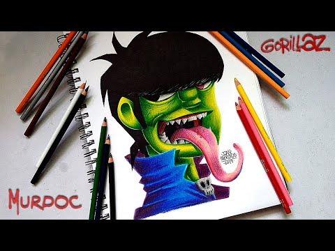 Dibujando a Murdoc - Gorillaz - Speed Drawing Colored Pencil Pelikan