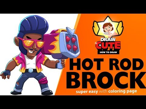 How to draw Hot Rod Brock   Brawl Stars super easy drawing tutorial with coloring page