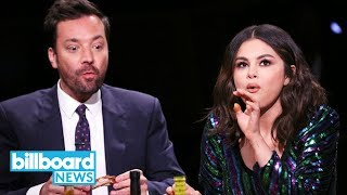 Selena Gomez Starts Crying During 'Hot Ones' Challenge With Jimmy Fallon | Billboard News