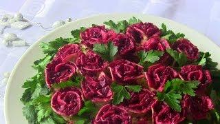 """Смотреть онлайн Вкусный мясной салат на праздничный стол """"Розы"""""""