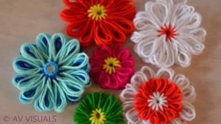 How To Make Quick Woolen Flowers Using Stencil | DIY Beautiful Woolen Flowers | Very Easy
