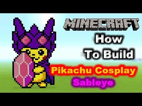 Minecraft Pixel Art Tutorial - Pikachu/Sableye Cosplay (Pokemon) -  Huggybear Gaming