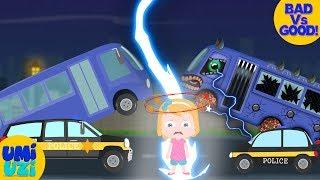 Umi Uzi | Good Vs Evil | School bus V Police car | Save Umi Uzi | Ep #01