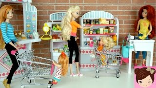 Elsa & Anna Babies Shopping At The Grocery Store - Doll Supermarket Toy - Titi Dolls