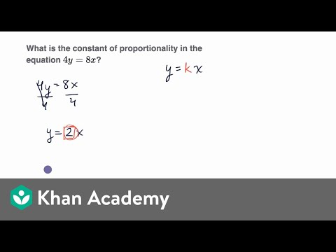 Constant of proportionality from equation (video) | Khan Academy