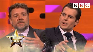 Henry Cavill and Russell Crowe on sex scenes and kissing   The Graham Norton Show - BBC
