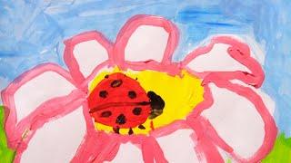 Рисуем с ребёнком 4 лет цветочек с божьей коровкой.