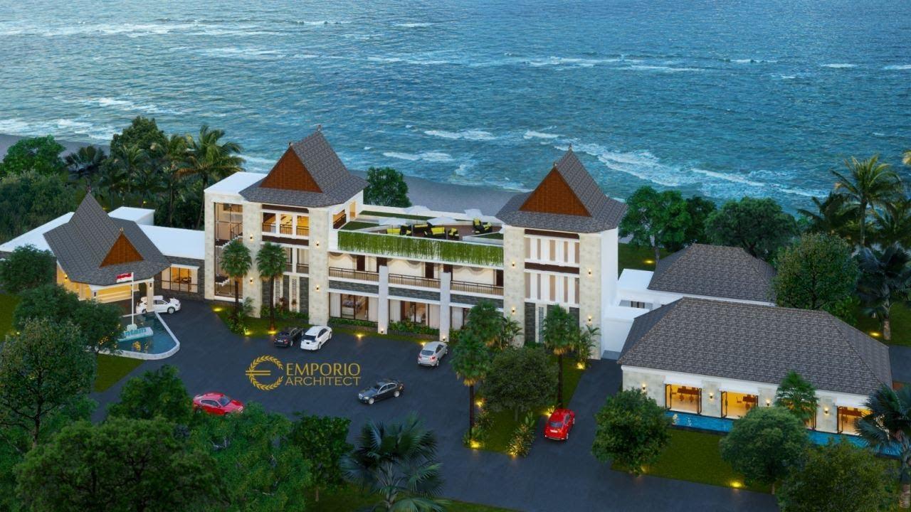 Video 3D Desain Mess VIP dan Kantin Style Villa Bali 3 Lantai PT ANTAM Tbk di Maluku