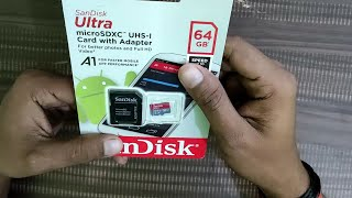 SanDisk 64 GB SD Card unboxing review in Hindi.         ( Memory card)