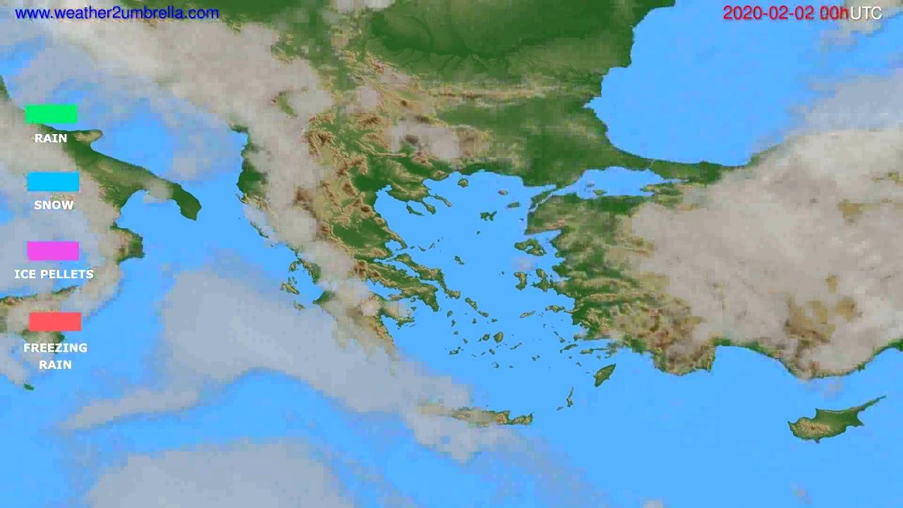 Precipitation forecast Greece // modelrun: 00h UTC 2020-02-01