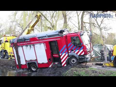 Brandweerwagen op het droge, maar afgeschreven