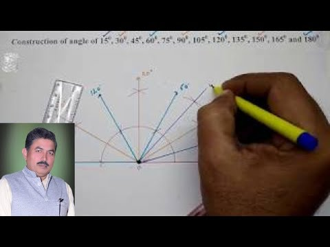 Construction of angle of 15, 30, 45, 60, 75, 90, 105, 120, 135, 150, 165 and 180 degree