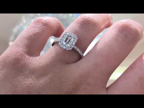 Emerald Cut Halo Engagement Ring by Princess Bride Diamonds