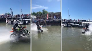Man Rides Motorbike Across Water