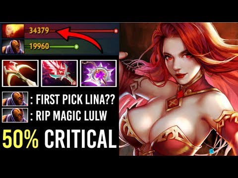 OMG 50% CRIT Max Attack Speed Lina Mid vs Anti-Mage Wildfire Machine Epic Top Ranked Game Dota 2