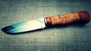 Восстановление сломанного ножа, рукоять из бересты.