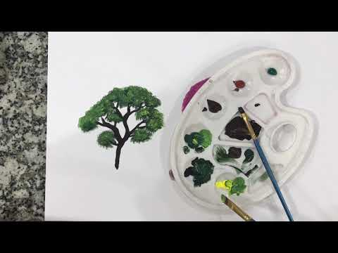 Acrylic paint ( tree ) for beginners ( easy )
