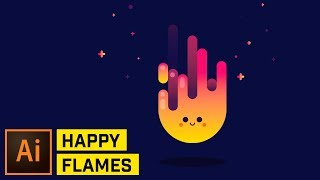 Happy Fire Artwork - Adobe Illustrator Tutorial
