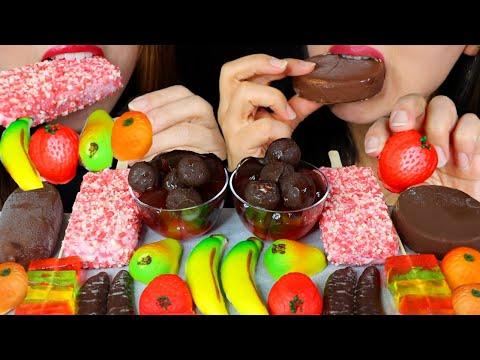ASMR FRUIT JELLY, CHOCO BANANAS, STRAWBERRY SHORTCAKE ICE CREAM, FRUIT MARZIPAN 먹방 | Kim&Liz ASMR