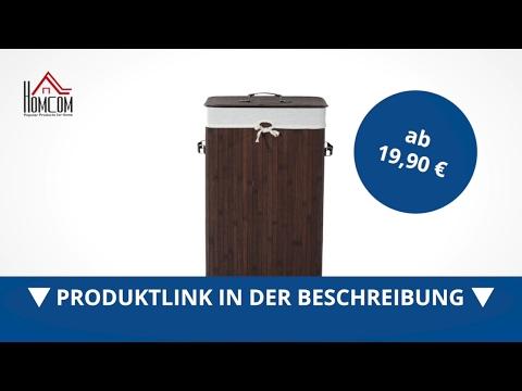 Homcom Wäschekorb Wäschesammler 72L Bambus Eckig braun - direkt kaufen!