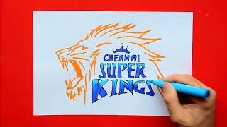 How to draw Chennai Super Kings (CSK) Logo