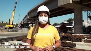 Concretada rampa de acesso à ponte sobre rio na Zona Noroeste de Santos