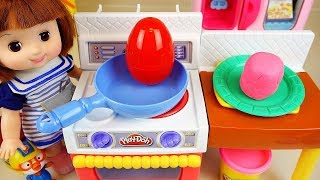 Play doh and baby doll kitchen cooking surprise eggs play baby Doli house
