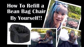 How To Refill a Big Joe Bean Bag Chair By Yourself!! (Bonus: How NOT To Refill a Bean Bag Chair)